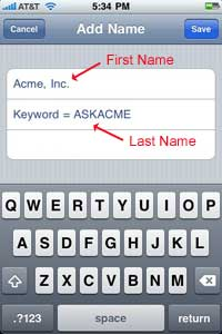 Enter the Name and Keyword into your Contacts