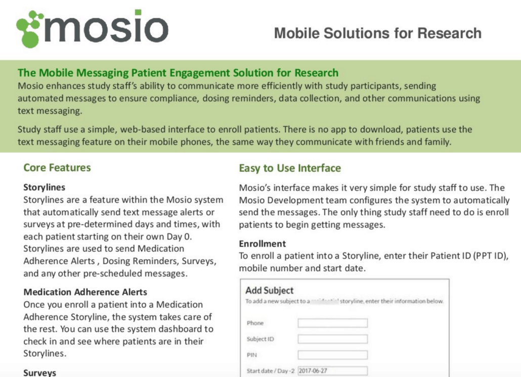 Mosio Clinical Trial Patient Engagement Tools